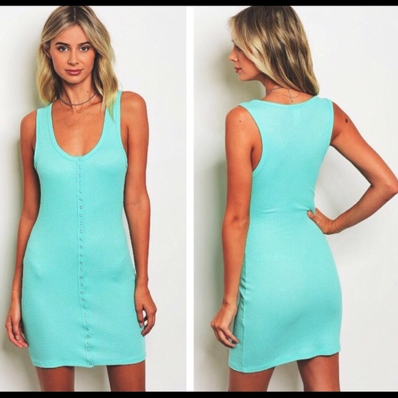dab82356e89be Mint Green Ribbed Bodycon Tank Dress Buttons Down